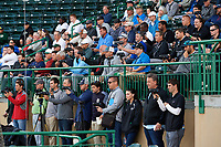 A group of scouts watch USF Bulls starting pitcher Shane McClanahan (not shown) deliver a pitch during a game against the UConn Huskies on March 23, 2018 at USF Baseball Stadium in Tampa, Florida.  UConn defeated USF 6-4.  (Mike Janes/Four Seam Images)