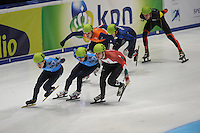 SHORTTRACK: DORDRECHT: Sportboulevard Dordrecht, 24-01-2015, ISU EK Shorttrack, Semen ELISTRATOV (RUS | #61), Ruslan ZAKHAROV (RUS | #64), Viktor KNOCH (HUN | #35), Freek VAN DER WART (NED | #52), ©foto Martin de Jong