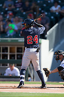 Ronald Acuna (24) of the Gwinnett Braves at bat against the Charlotte Knights at BB&T BallPark on July 16, 2017 in Charlotte, North Carolina.  The Knights defeated the Braves 5-4.  (Brian Westerholt/Four Seam Images)