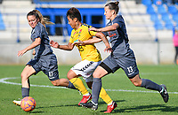 20190813 - DENDERLEEUW, BELGIUM : PAOK's Chara Dimitriou (13) and PAOK's Maria Mitkou (17) pictured defending on LSK's Meryll Abrahamsen (middle) during the female soccer game between the Greek PAOK Thessaloniki Ladies FC and the Norwegian LSK Kvinner Fotballklubb Ladies , the third and final game for both teams in the Uefa Womens Champions League Qualifying round in group 8 , Tuesday 13 th August 2019 at the Van Roy Stadium in Denderleeuw  , Belgium  .  PHOTO SPORTPIX.BE for NTB | DAVID CATRY