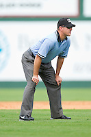 First base umpire Mark Lollo during the International League game between the Syracuse Chiefs and the Charlotte Knights at Knights Stadium on June 19, 2011 in Fort Mill, South Carolina.  The Knights defeated the Chiefs 10-9.    (Brian Westerholt / Four Seam Images)