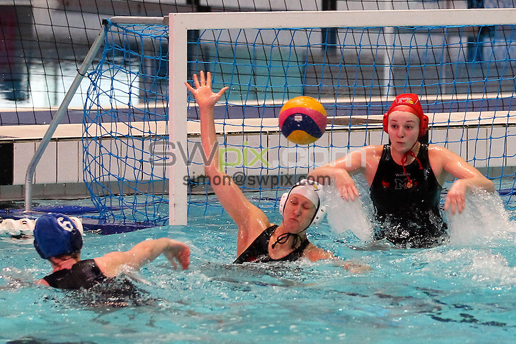 PICTURE BY ALEX WHITEHEAD/SWPIX.COM - Water Polo - British Gas Water Polo Championships 2013 - Women's Final, Manchester v Liverpool - Manchester Aquatics Centre, Manchester, England - 24/02/13 - Liverpool take a shot on goal.