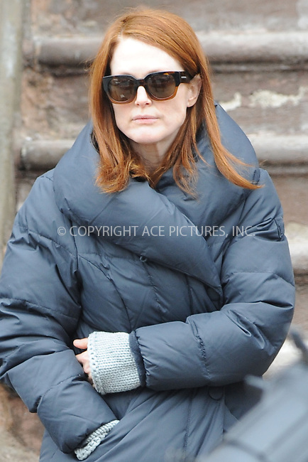WWW.ACEPIXS.COM <br /> March 7, 2014 New York City<br /> <br /> Julianne Moore on the movie set 'Still Allice' on March 7, 2014 in New York City.<br /> <br /> Please byline: Kristin Callahan  <br /> <br /> ACEPIXS.COM<br /> Ace Pictures, Inc<br /> tel: (212) 243 8787 or (646) 769 0430<br /> e-mail: info@acepixs.com<br /> web: http://www.acepixs.com