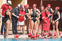 Stanford, CA - April 28, 2019: Huddle during the Stanford vs USC MPSF Women's Water Polo Championship Sunday at the Avery Aquatic Center.<br /> <br /> No. 1 Stanford lost the MPSF Championship in sudden death to the No. 2 Trojans, 9-8.