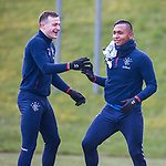 06.03.2020: Rangers training: George Edmundson and Alfredo Morelos