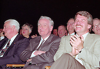Montreal (qc) CANADA - file Photo - 1992 - <br /> Union des Municipalites du Quebec convention in April -<br /> Ralph Mercier, UMQ President and Mayor of Charlesbourg (L),<br />  Claude Ryan, Quebec Minister of Municipal Affairs (M),<br /> Jean Dore, mayor of Montreal (R)