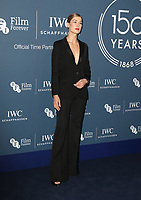 Rosamund Pike at the IWC Schaffhausen Gala Dinner in honour of the BFI at the Electric Light Station, Shoreditch, London on October 9th 2018<br /> CAP/ROS<br /> ©ROS/Capital Pictures