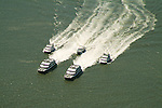 Aerial view of  Ferry Service in NY Harbor