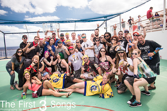 Elias Soriano, Robb Rivera, Rasheed Thomas, Adam Woloszyn, and BC Kochmit of Nonpoint compete with fans in Deck Wars during the 2016 ShipRocked Cruise. ShipRocked set sail January 18-22, 2016, from Miami to Costa Maya, Mexico on the Norwegian Pearl.