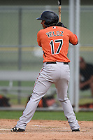 Third baseman Hector Veloz (17) of the Baltimore Orioles organization during a minor league spring training camp day game on March 23, 2014 at Buck O'Neil Complex in Sarasota, Florida.  (Mike Janes/Four Seam Images)