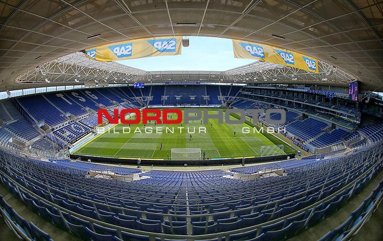 nph00250:  16.05.2020, PreZero-Arena, Sinsheim, GER, 1.FBL, TSG 1899 Hoffenheim vs Hertha BSC Berlin , <br /> <br /> Nur für journalistische Zwecke!<br /> <br /> Gemäß den Vorgaben der DFL Deutsche Fußball Liga ist es untersagt, in dem Stadion und/oder vom Spiel angefertigte Fotoaufnahmen in Form von Sequenzbildern und/oder videoähnlichen Fotostrecken zu verwerten bzw. verwerten zu lassen. <br /> <br /> Only for editorial use! <br /> <br /> DFL regulations prohibit any use of photographs as image sequences and/or quasi-video..<br /> im Bild<br /> Leere Ränge in der PreZero-Arena Foto: Ralf Poller/Avanti/Pool/Verbreitung via Hasan Bratic/nordphoto
