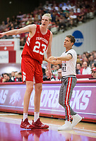 NWA Democrat-Gazette/BEN GOFF @NWABENGOFF<br /> Connor Vanover, Arkansas forward, talks to head coach Eric Musselman in the first half Saturday, Oct. 5, 2019, during the annual Arkansas Red-White Game at Barnhill Arena in Fayetteville.