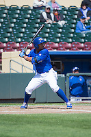 Moises Sierra (25) of the Omaha Storm Chasers at bat against the Memphis Redbirds in Pacific Coast League action at Werner Park on April 22, 2015 in Papillion, Nebraska.  (Stephen Smith/Four Seam Images)