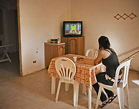 Palermo, Zen district, unemployed homeless woman occupies together with other families empty houses in Zen neighborood, <br /> Palermo, quartiere Zen, disoccupata e senza casa occupa insieme ad altre famiglie abitazioni  in costruzione nel quartiere.