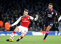 Shkodran Mustafi of Arsenal passes the ball back during the Premier League match between Arsenal and Huddersfield Town at the Emirates Stadium, London, England on 29 November 2017. Photo by Carlton Myrie / PRiME Media Images.