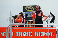 May 1, 2009; Richmond, VA, USA; NASCAR Sprint Cup Series crew chief Greg Zipadelli watches from the hauler during practice for the Russ Friedman 400 at the Richmond International Raceway. Mandatory Credit: Mark J. Rebilas-
