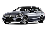 Stock pictures of low aggressive front three quarter view of a 2018 Mercedes Benz C Class AMG Line 5 Door Wagon