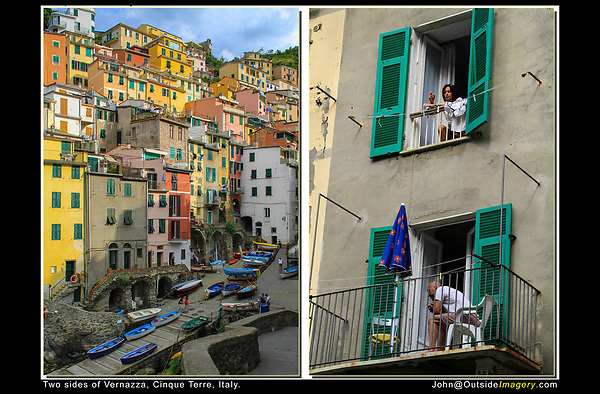 Italy, Mediterranean Sea. Framing.<br /> Left photo. The blue sky above Vernassi is just enough to act as an overhead frame.  Along the bottom, diagonal lines lead the viewer into the image. <br /> Right photo. Before pointing the camera, I adjust my camera's focal length, ISO and exposure to get at least 1/100 second shutter speed. I'm not totally comfortable intruding on someone's morning smoke, so I work fast and hope for the best.