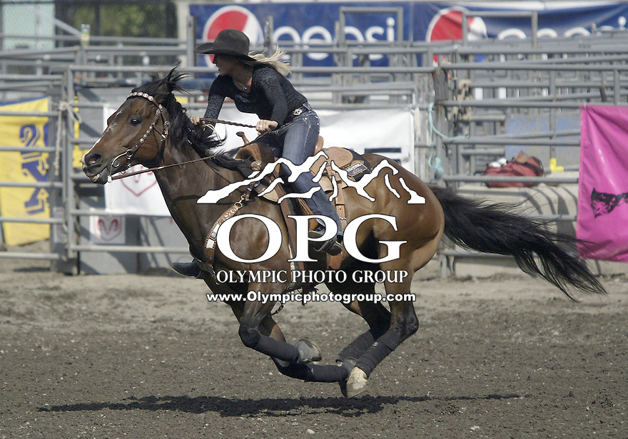 29 Aug 2009:   Megan Mcleod scored a time of 26.83 in the Barrel Racing competition at the Kitsap County Wrangler Million Dollar PRCA Pro Rodeo Tour in Bremerton, Washington.