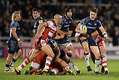 29th September 2017, AJ Bell Stadium, Salford, England; Aviva Premiership Rugby, Sale Sharks versus Gloucester; Sale Sharks' Sam James is tackled as he runs towards Gloucester Rugby's Willi Heinz
