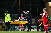 Andrew Cannon of Rochdale is carried off on a stretcher after collision with Jack Sowerby of Fleetwood Town during the Sky Bet League 1 match between Rochdale and Fleetwood Town at Spotland Stadium, Rochdale, England on 20 March 2018. Photo by Thomas Gadd.