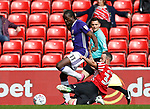 Clayton Donaldson of Sheffield Utd tackled by Marc Wilson of Sunderland during the Championship match at the Stadium of Light, Sunderland. Picture date 9th September 2017. Picture credit should read: Simon Bellis/Sportimage