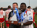 Stevenage manager Graham Westley and Yemi Odubade   with the Championship trophy after the Blue Square Premier match between Stevenage Borough and York City at the Lamex Stadium, Broadhall Way, Stevenage on Saturday 24th April, 2010..© Kevin Coleman 2010 ..
