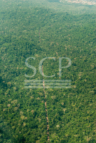 Para state, Brazil. Aerial view of dirt road through forest.