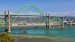 Newport, OR<br /> Yaquina Bay Bridge (1934) on the mouth of the Yaquina River at Newport, Oregon