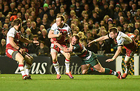 Northampton Saints' Rory Hutchinson is tackled by Leicester Tigers' Sam Harrison <br /> <br /> Photographer Hannah Fountain/CameraSport<br /> <br /> Gallagher Premiership - Leicester Tigers v Northampton Saints - Friday 22nd March 2019 - Welford Road - Leicester<br /> <br /> World Copyright © 2019 CameraSport. All rights reserved. 43 Linden Ave. Countesthorpe. Leicester. England. LE8 5PG - Tel: +44 (0) 116 277 4147 - admin@camerasport.com - www.camerasport.com