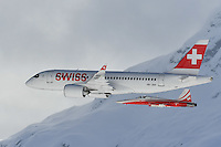 February 7, 2017: The Swiss Air's new Bombardier C Series and the Swiss Air Force's air display team Patrouille Suisse put on a pre-race airshow at the FIS Alpine Ski World Championships. Photo Sydney Low