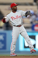 Jimmy Rollins #11 of the Philadelphia Phillies during a game against the Los Angeles Dodgers at Dodger Stadium on July 16, 2012 in Los Angeles, California. Philadelphia defeated Los Angeles 3-2. (Larry Goren/Four Seam Images)