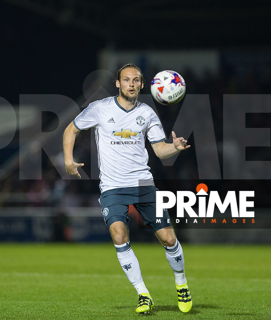Daley Blind of Manchester United during the EFL Cup match between Northampton Town and Manchester United at Sixfields Stadium, Northampton, England on 21 September 2016. Photo by Andy Rowland.