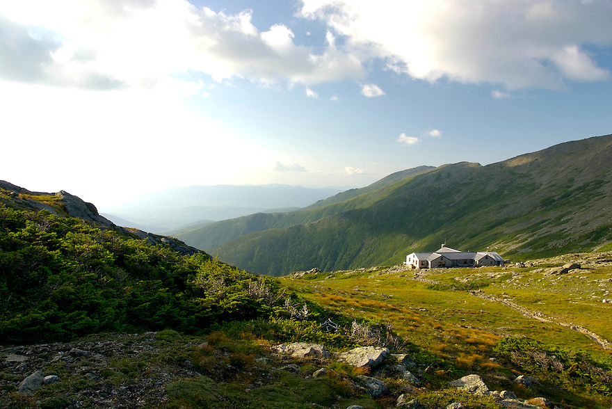 The AMC Lakes of the Clouds Hut, strategically located between the Summits of Mt Washington and Mt Monroe, provides refuge for hikers all summer long.