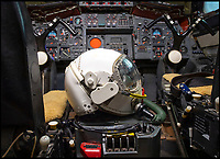 BNPS.co.uk (01202 558833)<br /> Pic: PhilYeomans/BNPS<br /> <br /> Back in the cockpit - the helmet worn by Test Pilot Brian Trubshaw on Concorde's first British test flight.<br /> <br /> The space age helmet worn by Concorde test pilot Brian Trubshaw on the first ever UK flight has been reunited with the historic Concorde 002 at the Fleet Air Arm Museum in Somerset.<br /> <br /> The 50th anniversary of the flight on 9th April 1969 takes place tomorrow (Tuesday) when the Concorde prototype took off from Filton near Bristol with Trubshaw at the controls.<br /> <br /> The historic helmet was fitted with an oxygen supply in case of an depressurisation of the supersonic aircraft during testing and has been loaned to the museum by a collector.