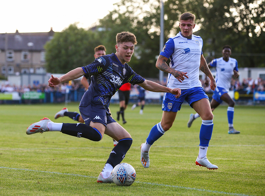 Leeds United's Jordan Stevens in action<br /> <br /> Photographer Alex Dodd/CameraSport<br /> <br /> Football Pre-Season Friendly - Guiseley v Leeds United - Thursday July 11th 2019 - Nethermoor Park - Guiseley<br /> <br /> World Copyright © 2019 CameraSport. All rights reserved. 43 Linden Ave. Countesthorpe. Leicester. England. LE8 5PG - Tel: +44 (0) 116 277 4147 - admin@camerasport.com - www.camerasport.com
