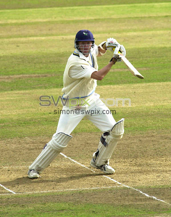 Pix: Chris Whiteoak/SWpix.com. Frizzel County Championship, Day 3, Yorkshire v Glamorgan. 18/09/2004...COPYRIGHT PICTURE>>SIMON WILKINSON>>01943 608782>>..Yorkshire's Richard Dawson pushes one away for 4