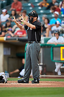 Home plate umpire Ronnie Teague during the game between the Fresno Grizzlies and the Salt Lake Bees at Smith's Ballpark on September 3, 2017 in Salt Lake City, Utah. The Bees defeated the Grizzlies 10-8. (Stephen Smith/Four Seam Images)