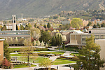 0704-01 GCS April 2007..BYU General Campus Scenics..View from JFSB Patio, Bell Tower and Provo Temple, Spring..April 6, 2007..Photo by Jaren Wilkey/BYU..Copyright BYU Photo 2007.All Rights Reserved .photo@byu.edu  (801)422-7322