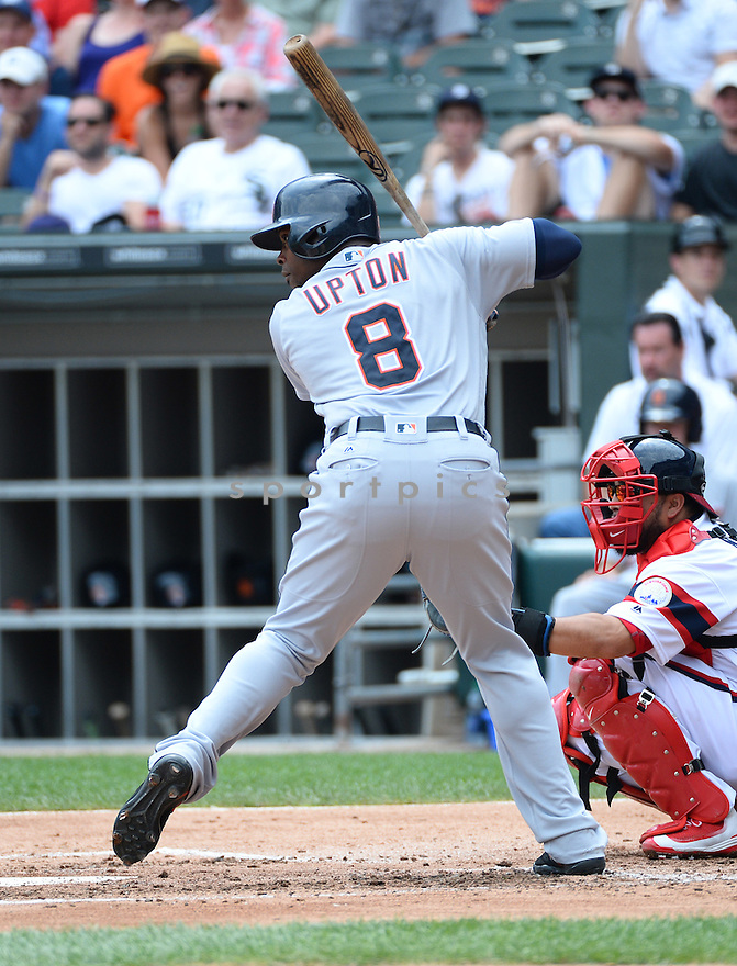 Detroit Tigers Justin Upton (8) during a game against the Chicago White Sox on July 24, 2016 at US Cellular Field in Chicago, IL. The White Sox beat the Tigers 5-4.