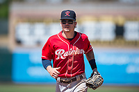 Tacoma Rainiers center fielder Ian Miller (7) jogs off the field between innings of a Pacific Coast League against the Sacramento RiverCats at Raley Field on May 15, 2018 in Sacramento, California. Tacoma defeated Sacramento 8-5. (Zachary Lucy/Four Seam Images)