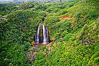 Aerial view of landmark 'Opaeka'a Falls on the Wailua River, Wailua, Kaua'i.