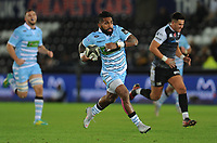 Glasgow Warriors' Nikola Matawalu runs in his sides second try<br /> <br /> Photographer Kevin Barnes/CameraSport<br /> <br /> Guinness Pro14 Round 8 - Ospreys v Glasgow Warriors - Friday 2nd November 2018 - Liberty Stadium - Swansea<br /> <br /> World Copyright &copy; 2018 CameraSport. All rights reserved. 43 Linden Ave. Countesthorpe. Leicester. England. LE8 5PG - Tel: +44 (0) 116 277 4147 - admin@camerasport.com - www.camerasport.com