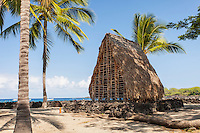 Model of a thatched hut temple in Pu'uhonua (Place of Refuge) o Honaunau National Historical Park, Big Island.