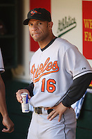 OAKLAND, CA - July 21:  Jay Payton of the Baltimore Orioles prepares in the dugout by drinking an energy drink before the game against the Oakland Athletics at the McAfee Coliseum in Oakland, California on July 21, 2007.  The Athletics defeated the Orioles 4-3.  Photo by Brad Mangin