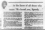 "Newspaper clips from the Jacksonville News and The Anniston Star following the death of Anthony ""Speedy"" Cannon. The story made the front page for several days following the young football star's death...In a 1972 football game of Jacksonville High School vs Wellborn High School Anthony ""Speedy"" Cannon was served a fatal blow during a late hit. There was speculation over if it was racially driven."