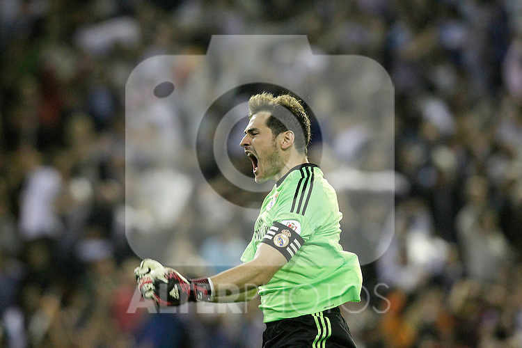 Real Madrid's Iker Casillas celebrates goal during spanish KIng's Cup Final match.April 16,2014. (ALTERPHOTOS/Acero)