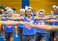 NWA Democrat-Gazette/JASON IVESTER<br /> Springdale Har-Ber High senior Tristen Porter follows the sideline cheers Thursday, June 15, 2017, during the B2 Cheer &amp; Dance Northwest Arkansas Day Camp at Central Junior High School in Springdale. Cheer squads from local junior high and high schools are participating in the three-day camp hosted by Springdale Har-Ber High.
