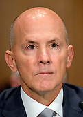 """Richard F. Smith, former Chairman and Chief Executive Officer, Equifax, Inc. gives testimony before the United States Senate Committee on Banking, Housing, and Urban Affairs as they conduct a hearing entitled, """"An Examination of the Equifax Cybersecurity Breach"""" on Capitol Hill in Washington, DC on Tuesday, October 3, 2017. <br /> Credit: Ron Sachs / CNP"""