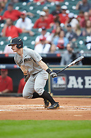 Pat DeMarco (18) of the Vanderbilt Commodores follows through on his swing against the Louisiana Ragin' Cajuns in game five of the 2018 Shriners Hospitals for Children College Classic at Minute Maid Park on March 3, 2018 in Houston, Texas.  The Ragin' Cajuns defeated the Commodores 3-0.  (Brian Westerholt/Four Seam Images)